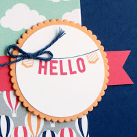 Stampin' Up! Sale-a-bration Any Occasions stamp set + Carried Away Designer Paper Hello Card #stampinup www.juliedavison.com