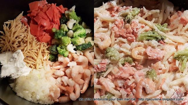 One pot pasta crevettes et saumon