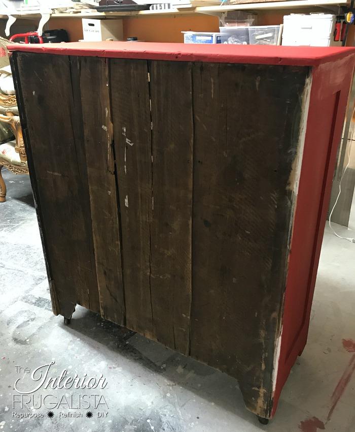 Red Antique Empire Dresser Back