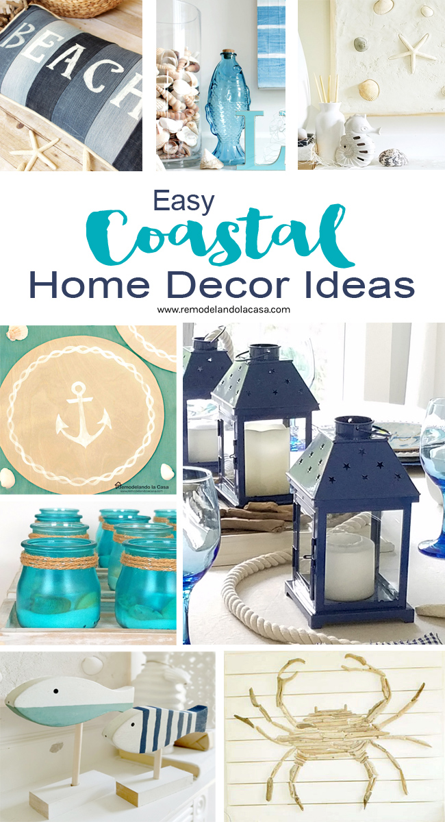 diy coastal decor in white and blue and teal