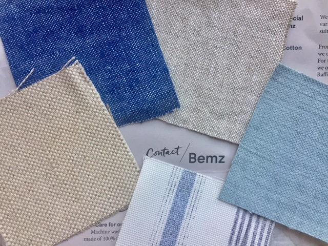 Bemz fabric samples for cover for Ikea Ektorp sofa at fixer upper for Hello Lovely Studio