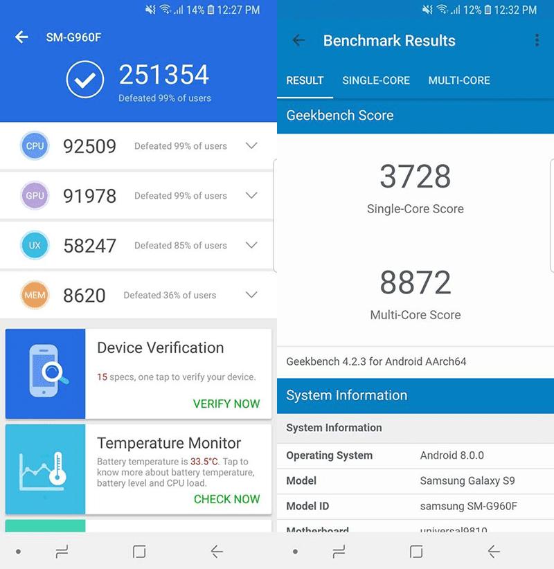 Samsung Galaxy S9 benchmark scores