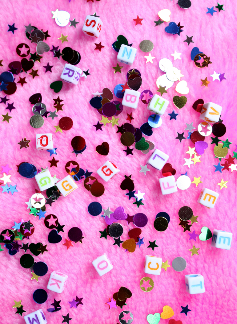letter beads pink sequins