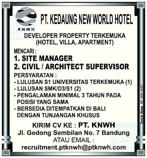 Loker PT. Kedaung New World Hotel