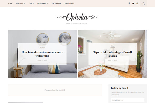 Ophelia - Responsive Beauty Blogger Template