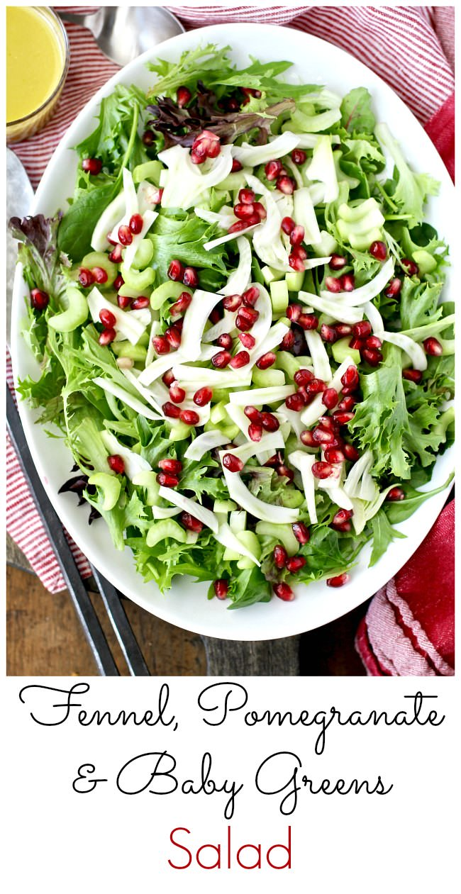 Fennel, Pomegranate, and Baby Greens Salad with honey mustard vinaigrette