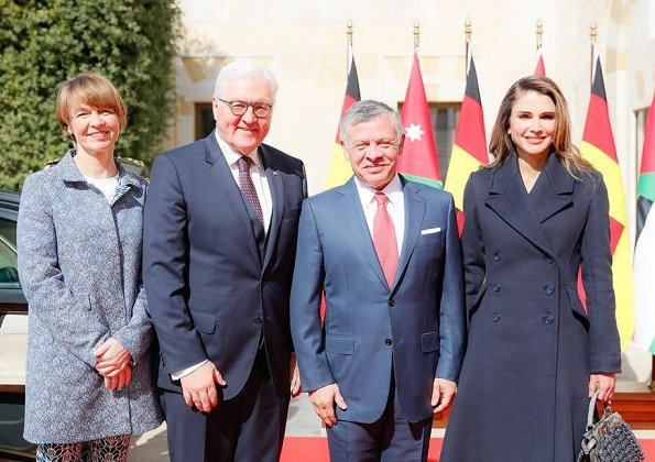 Queen Rania carried Fendi Bag from Summer 2016 collection. German President Frank-Walter Steinmeier and Elke Buedenbender in Jordan