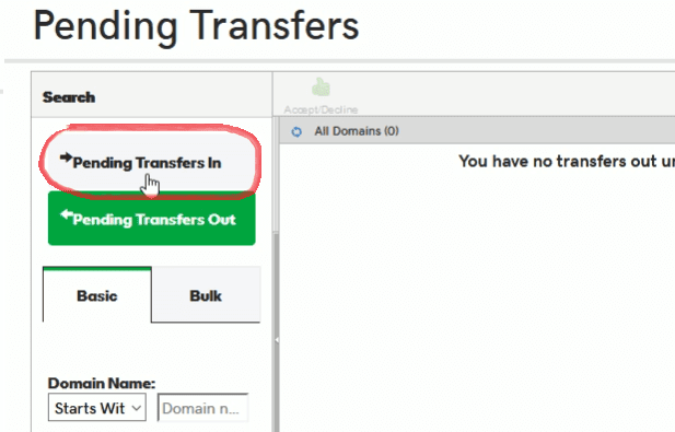 Godaddy pending transfer in