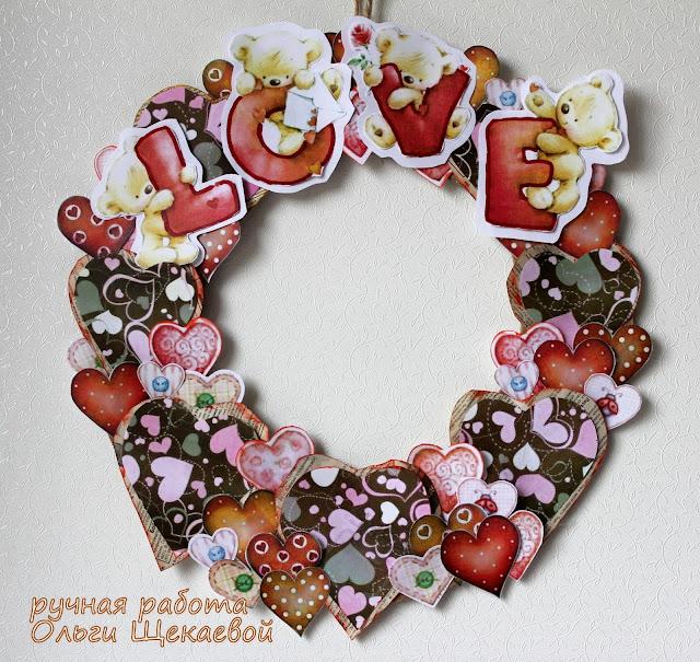 венок, сердечки, день св.Валентина
