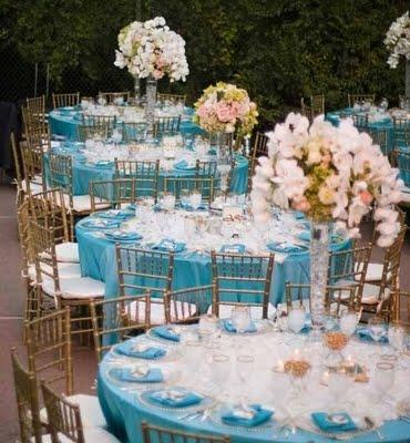 Wedding Flower Candles Decorating Blue Light