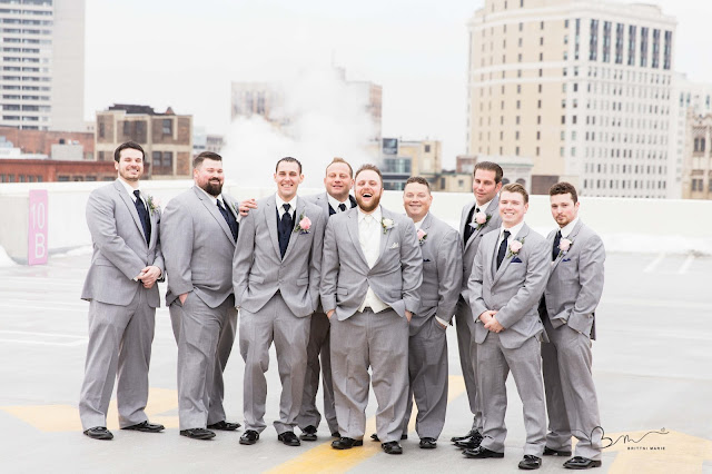 groomsmen on z belt lot rooftop posing