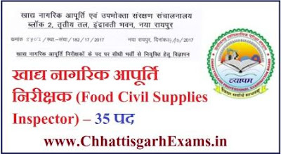 Food Civil Supplies Inspector- Food Inspector