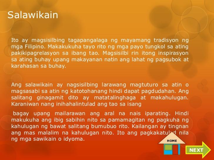 kawikaan at kahulugan Mga salawikain, kawikaan, at kasabihan ang salawikain, kawikaan, at kasabihan ay mga salitang tagalog na katumbas ng salitang proverbs sa english.