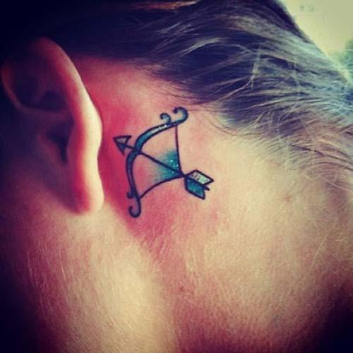 kulak arkası ok yay dövmesi behind ear arrow bow tattoo