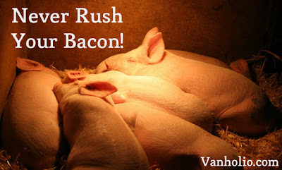 "Cute pigs sleeping in a pile. Quote says, ""Never rush your bacon!"" Vanholio.com"