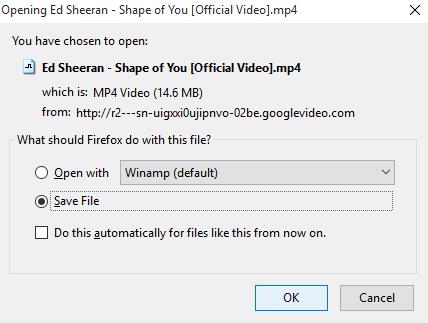 klik OK untuk Save File ke komputer anda