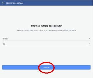 Criar Facebook com número de celular
