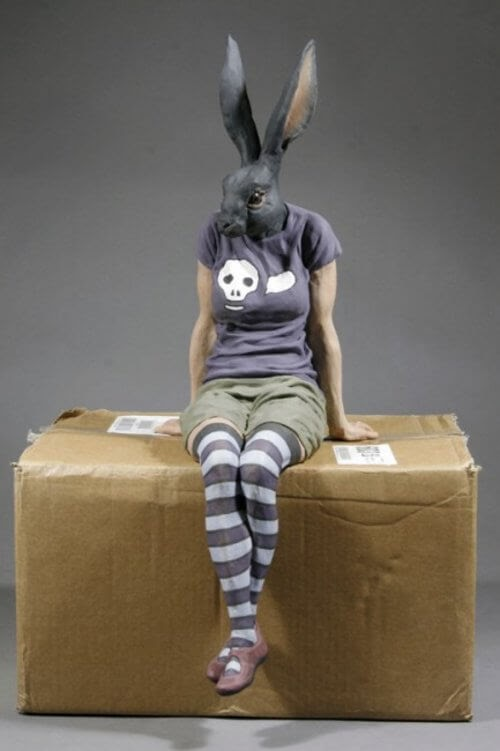 01-Black-Rabbit-Alessandro-Gallo-Clay-Sculptures-of-Human-Animal-Hybrids-www-designstack-co