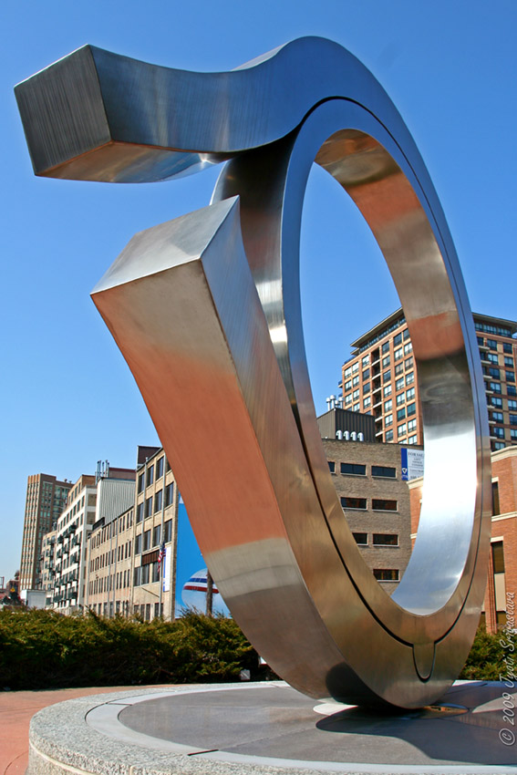 Public Art In Chicago River North Being Born By