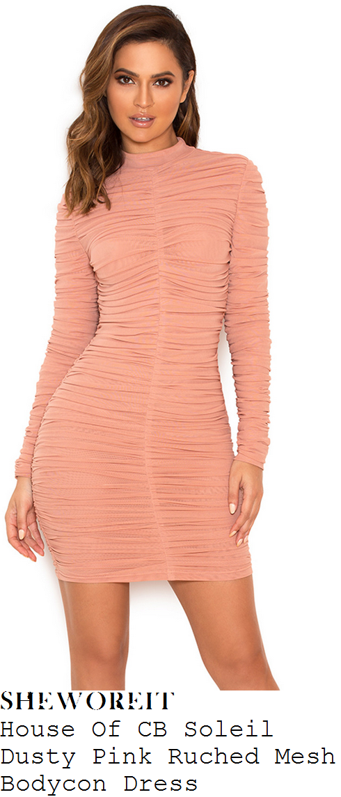 lauren-pope-house-of-cb-soleil-dusty-rose-pink-long-sleeve-high-neck-textured-mesh-bodycon-mini-dress
