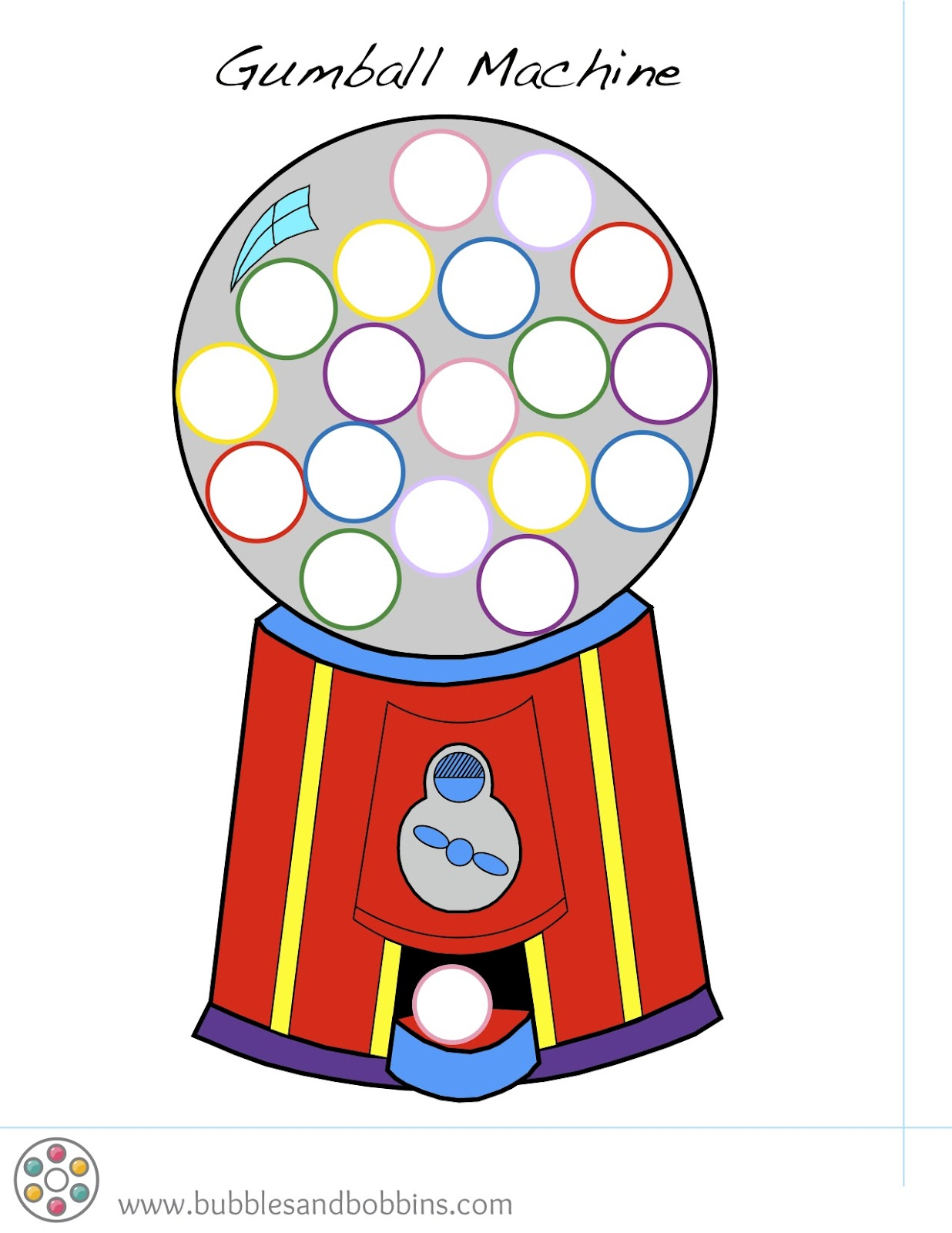 Gumball Machine Pompom Template