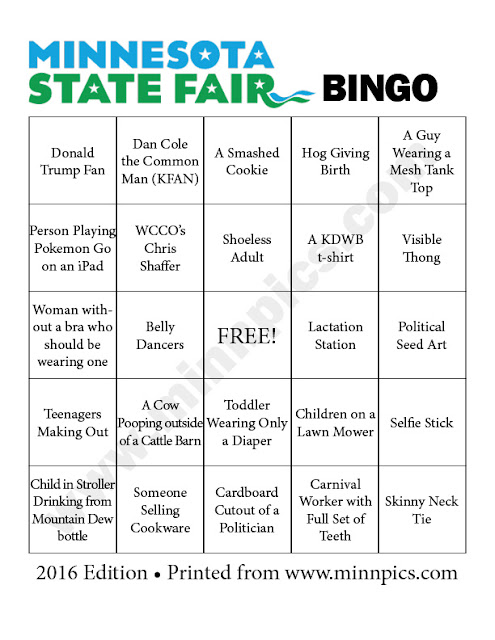 2016 Minnesota State Fair Bingo Card #4 - minnpics.com