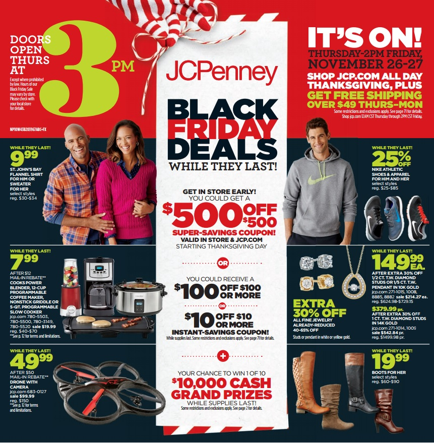 Jc Penney 2015 Black Friday Ad 500 Coupon Giveaway On Thanksgiving