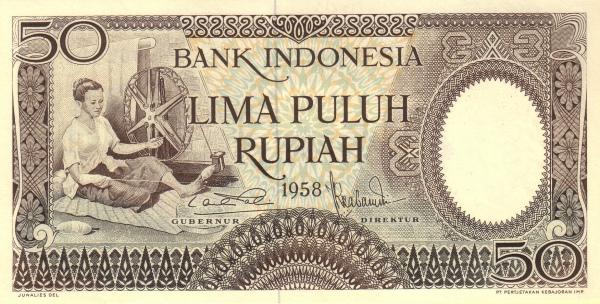 50 rupiah 1959 depan