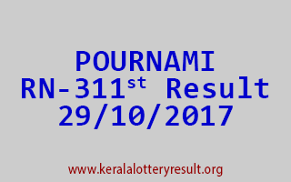 POURNAMI Lottery RN 311 Results 29-10-2017
