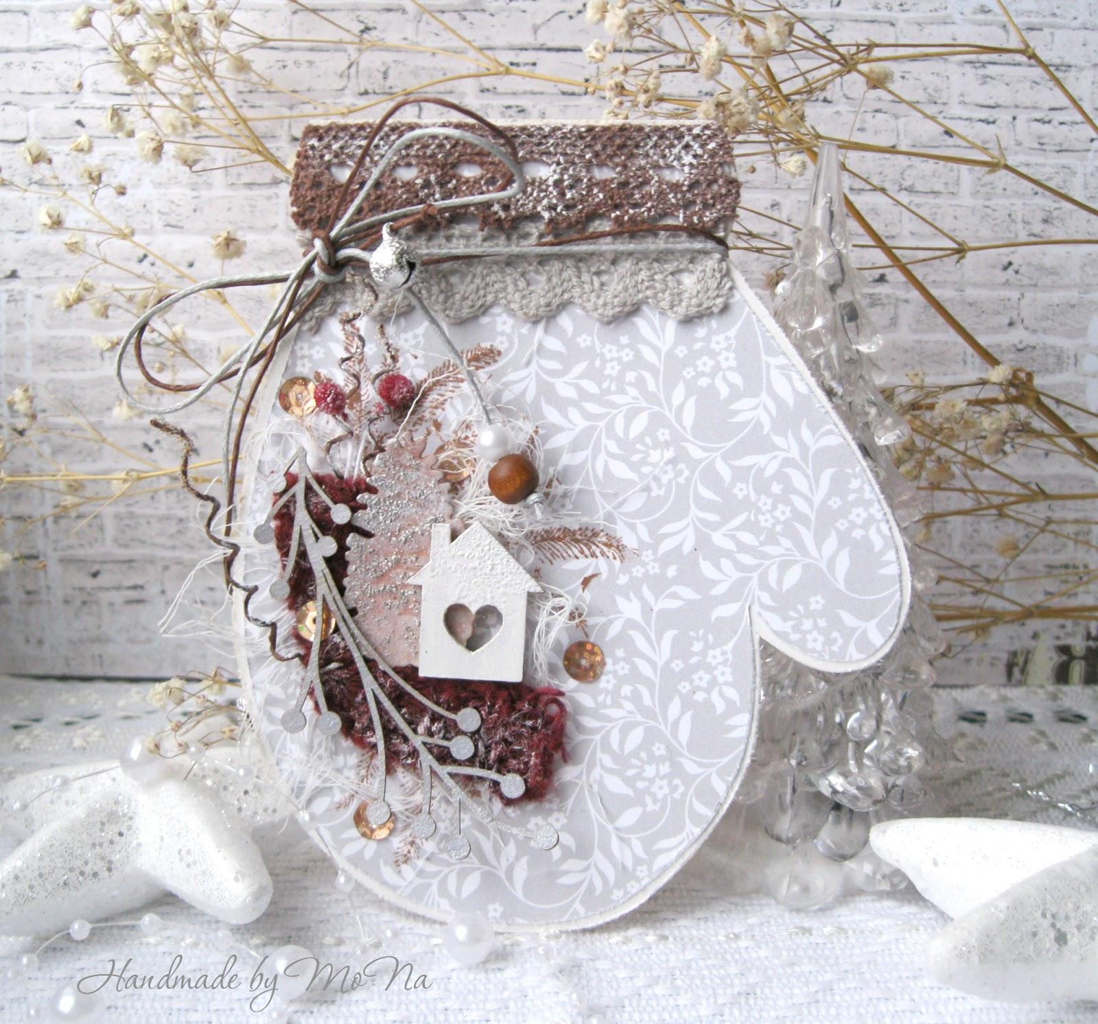 Новогодняя открытка скрапбукинг варежка, открытки маме марта