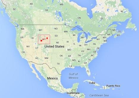 Amerika Wyoming Eyaleti Haritası