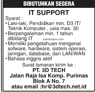 Lowongan Kerja PT.3D Tech Indonesia