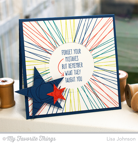 Handmade card from Lisa Johnson featuring Lisa Johnson Designs Whimsical Wishes stamp set and Peek-a-Boo Circle Windows Die-namics, and Pierced Star STAX Die-namics #mftstamps