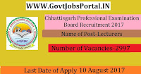 Chhattisgarh Professional Examination Board Recruitment 2017– 2997 Lecturers