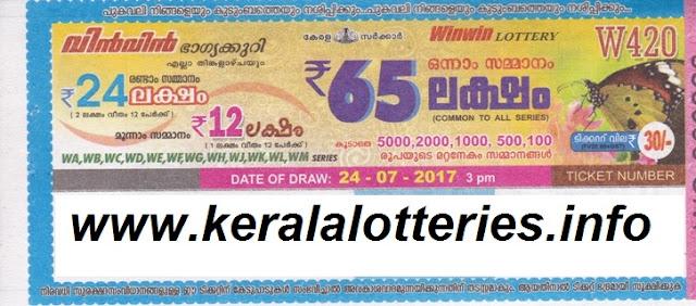 July 24, 2017_WIN WIN_W-420_Kerala Lottery Result
