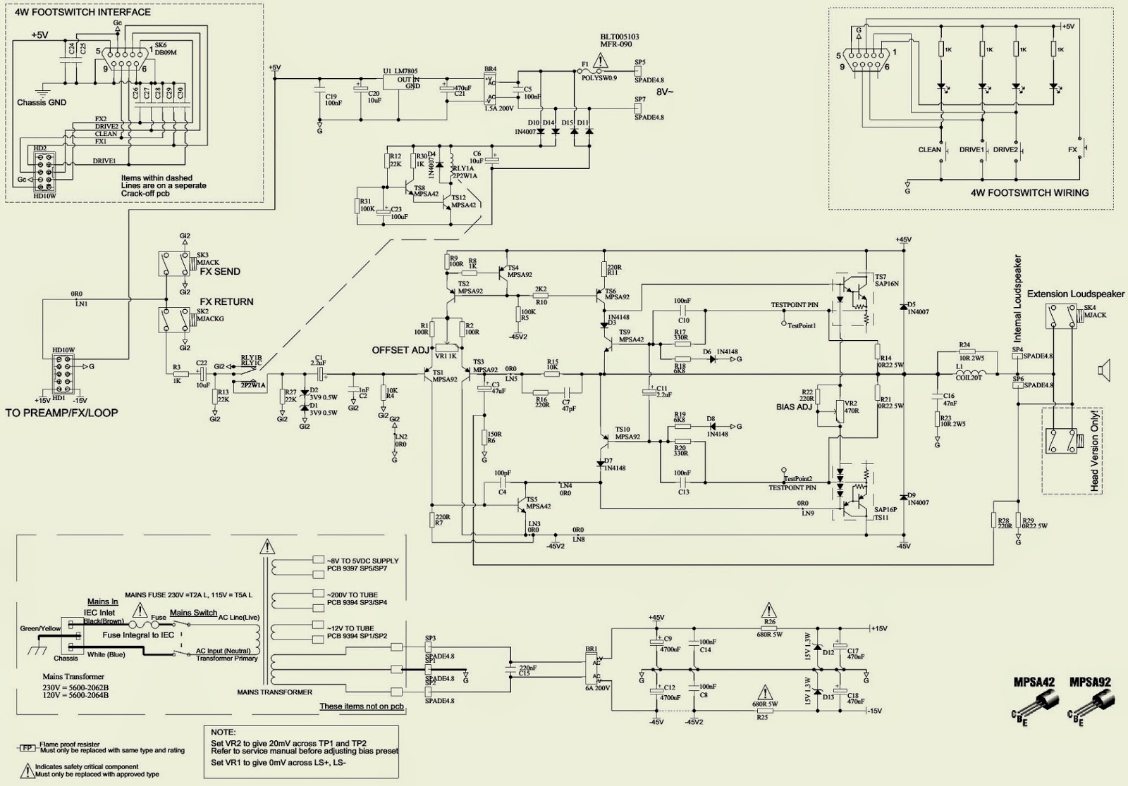 Laney 120w Guitar Amp Lv300h Tube Hybrid Amplifier Diagram Schematic Parts