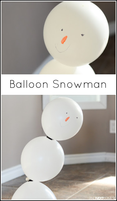 Indoor snowman making activity for kids using balloons from And Next Comes L