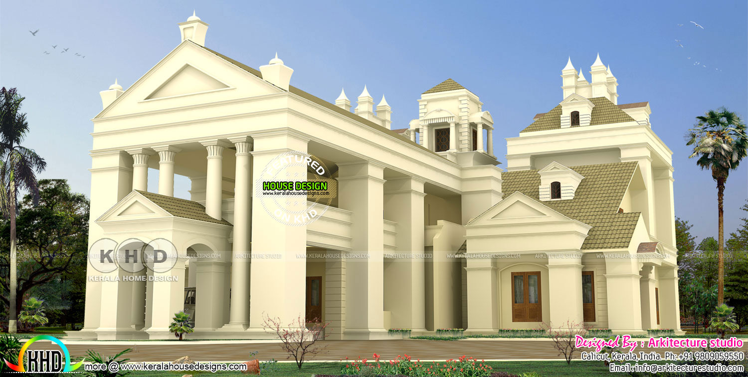 6 bhk colonial style home architecture kerala home for Colonial style house plans kerala