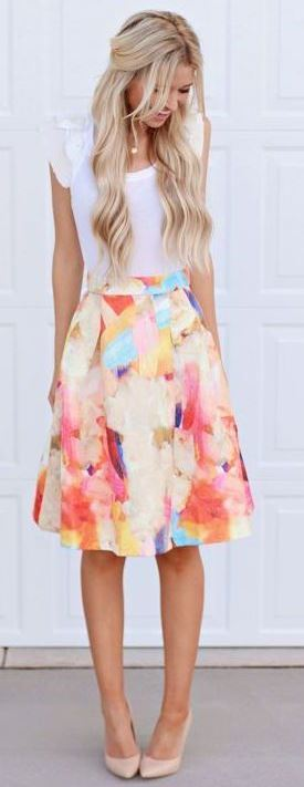 amazing outfit idea / white tee + colorful skirt + nude heels