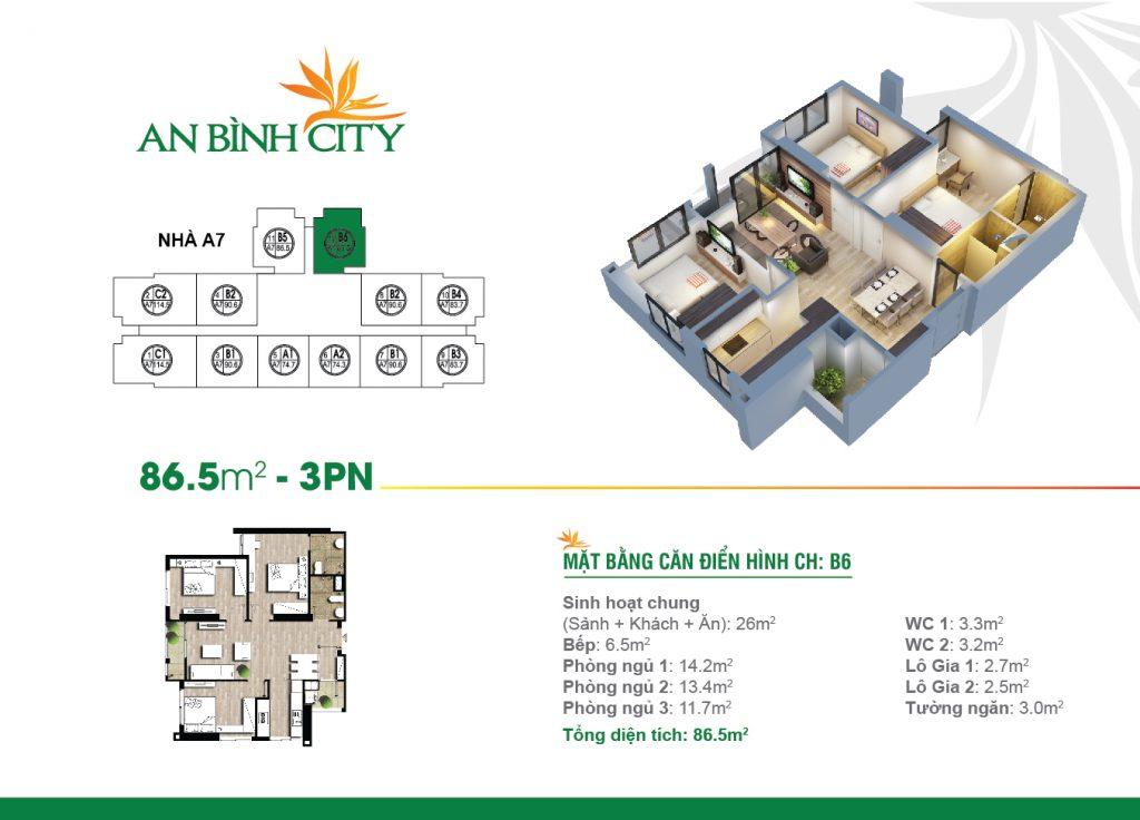 Căn hộ thiết kế với diện tích 86 m2 tại chung cư An Bình City