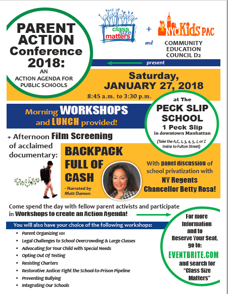 Sign up for our Jan. 27 Parent Action Conference now with workshops, lunch and film!