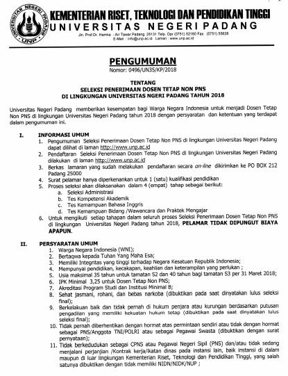 Penerimaan Dosen Tetap Non PNS Universitas Negeri Padang  PENERIMAAN DOSEN TETAP NON PNS UNIVERSITAS NEGERI PADANG (UNP) TAHUN 2018