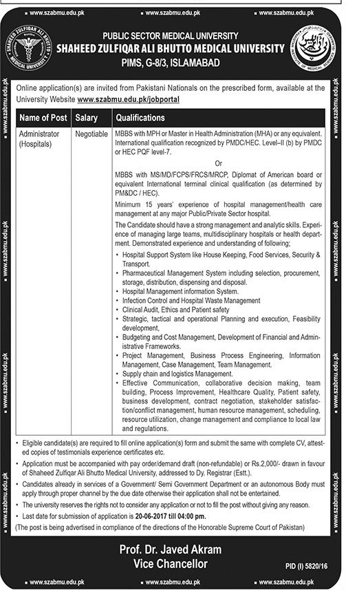 shaheed zulfikar ali bhutto medical university fee structure