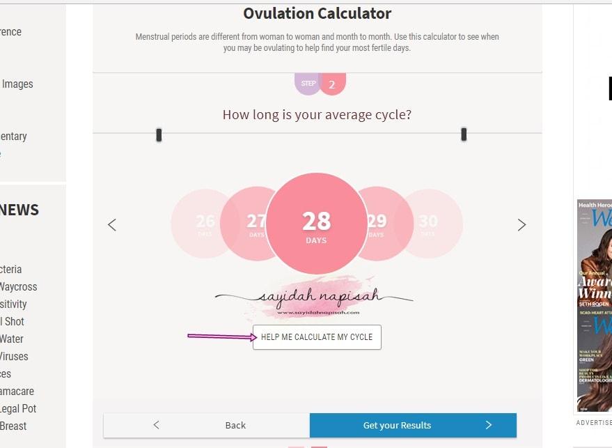 cara kira tarikh next period guna kalkulator