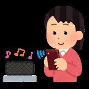 無線スピーカーで音楽を聴く人のイラスト(女性)