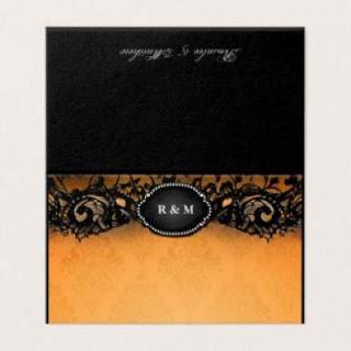 Elegant Halloween Orange & Black Gothic Initials FOLDING BLANK Place Cards