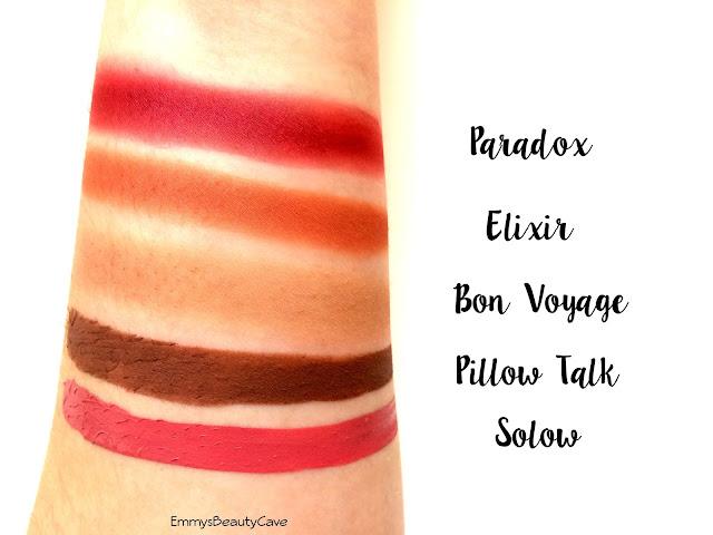 ColourPop Pillow Talk, ColourPop Solow, ColourPop Elixir, ColourPop Paradox, ColourPop Bon Voyage