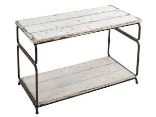 Mesa baja auxiliar en forja y madera