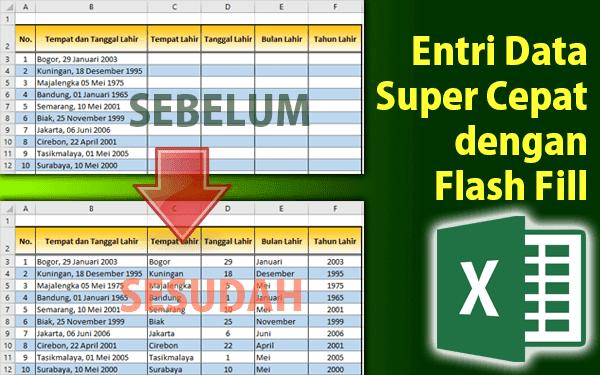 Cara Entri data di Excel dengan otomatis menggunakan Flash Fill