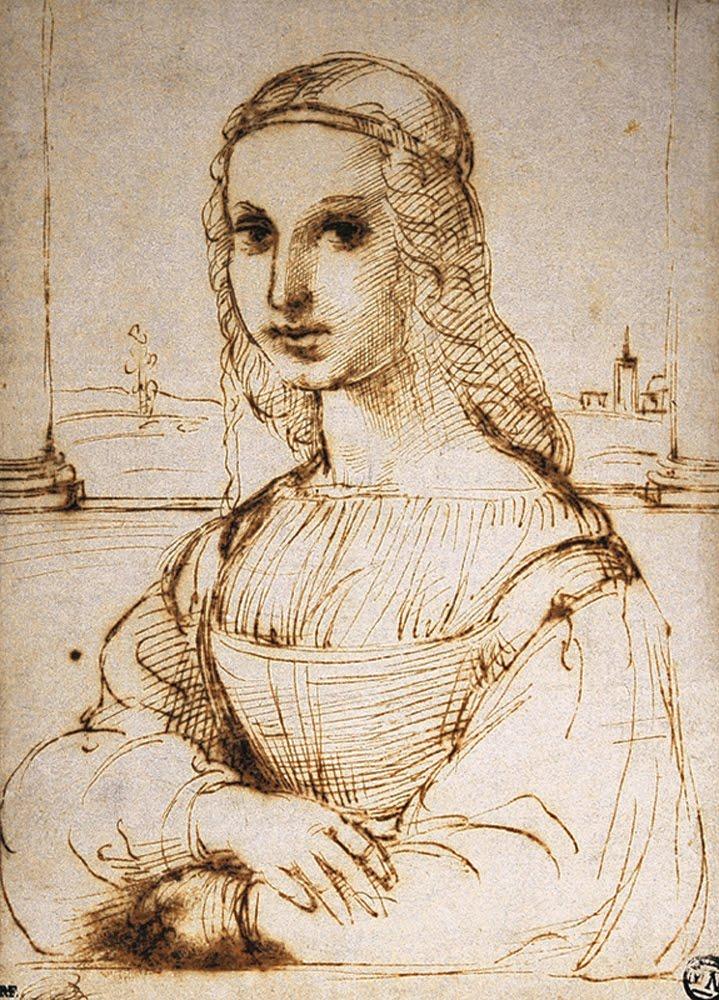 ラファエロ・サンティのある婦人の半身像